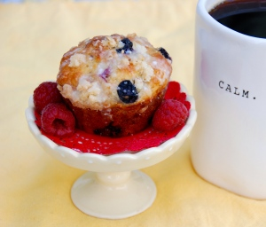 Berries in a Lemon Muffin with a Crumb Topping